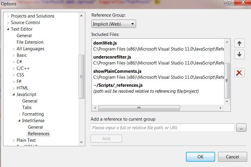 Adding JavaScript IntelliSense for Visual Studio 2012