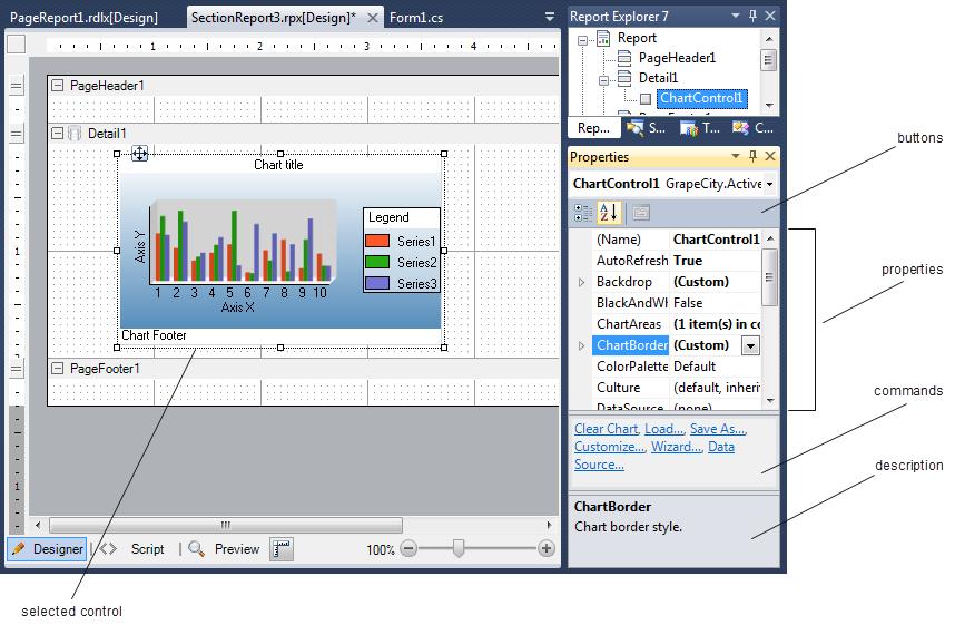 .NET Reporting Tool Designer View