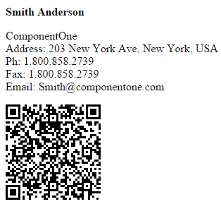 Business card qrcode when you run the project a qrcode containing the details of the business card is generated as shown below reheart Choice Image
