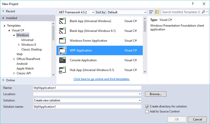 Getting started with componentone studio wpf edition using visual select wpf application template from the list maxwellsz