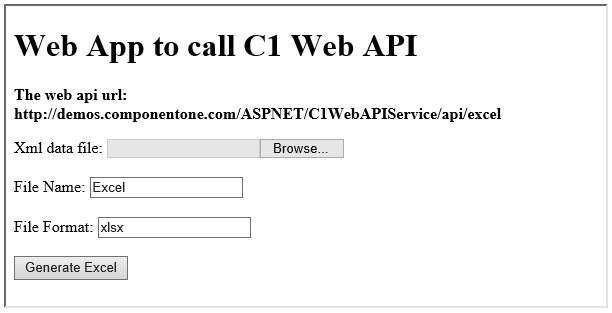 ComponentOne Studio Web API Edition - Generate Excel from XML Posted